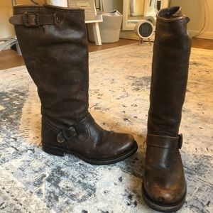 FRYE Veronica Slouch Leather Brown Boots